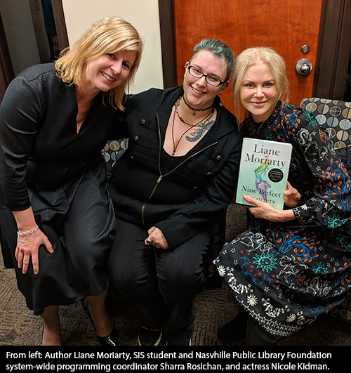 SIS student Sharra Rosichan with Liane Moriarty and Nicole Kidman