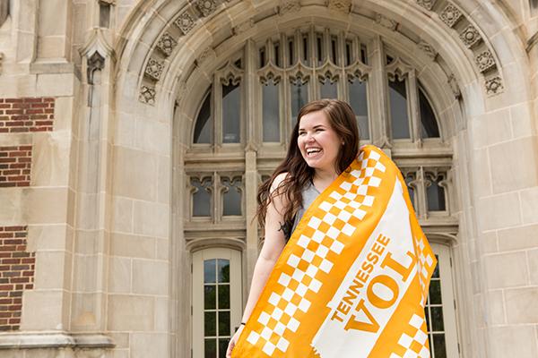 undergrad with UT flag