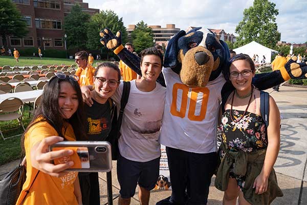 Smokey with First Year Students