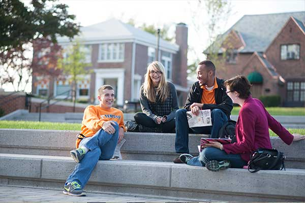 First Year Students Chatting on Steps