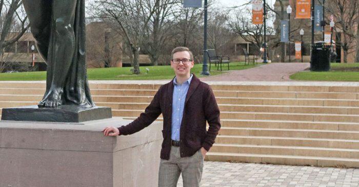 Brian Dobreski in front of Circle Park